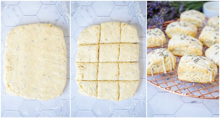 Three photo collage of Lavender Vanilla Scones dough, then cut into squares and arranged on wire rack.