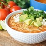 Sopa de Fideo (Mexican Noodle Soup) in a white bowl.