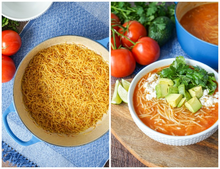Toasted noodles in a blue pot and Sopa de Fideo (Mexican Noodle Soup) in a white bowl.