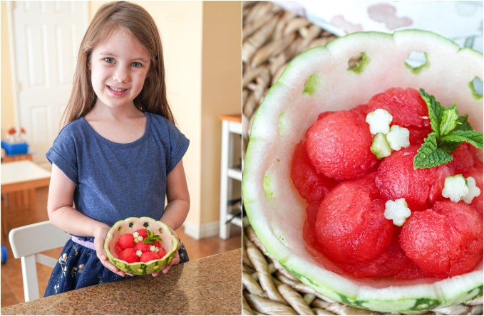 Two photo collage of girl holding watermelon bowl and close up of watermelon bowl with sprig of mint.