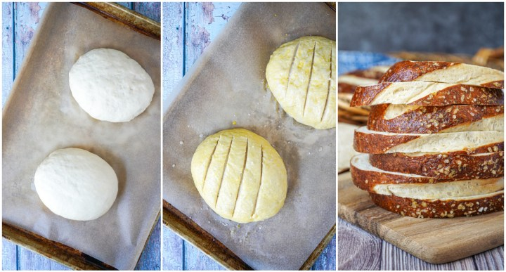 Three photo collage of Pretzel Bread dough and slices of the bread stacked.