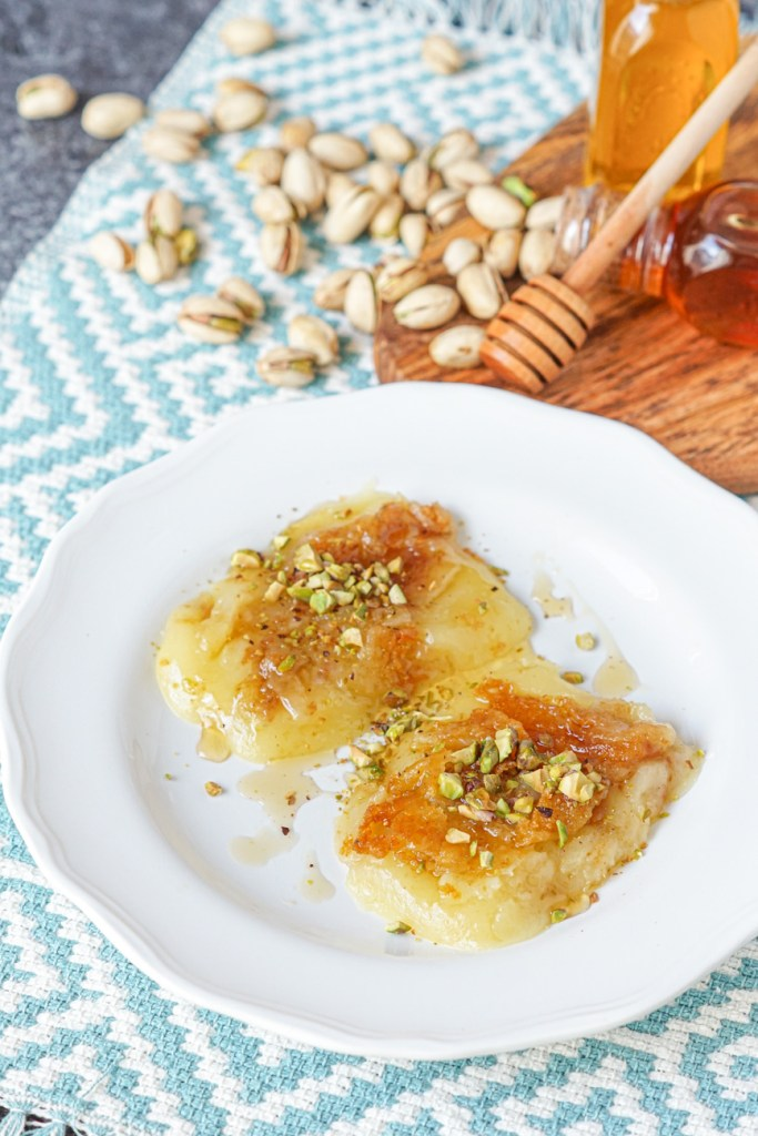 Kasseri Saganaki (Griddled Greek Cheese) with pistachios and honey