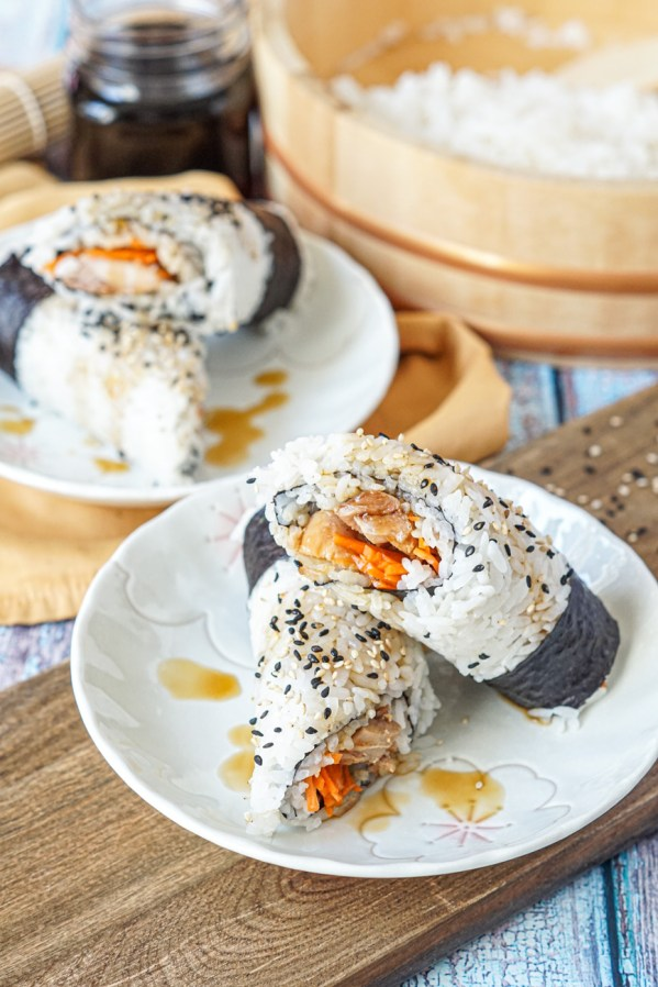 Teriyaki Chicken Hand Rolls filled with chicken and carrots