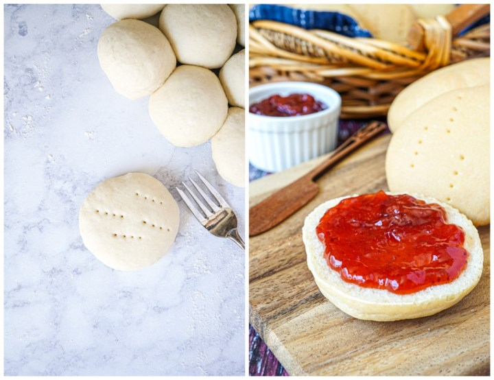 Two photo collage- balls of dough with one flattened with fork pricks and baked Pan Amasado (Chilean Kneaded Bread) covered in jam.