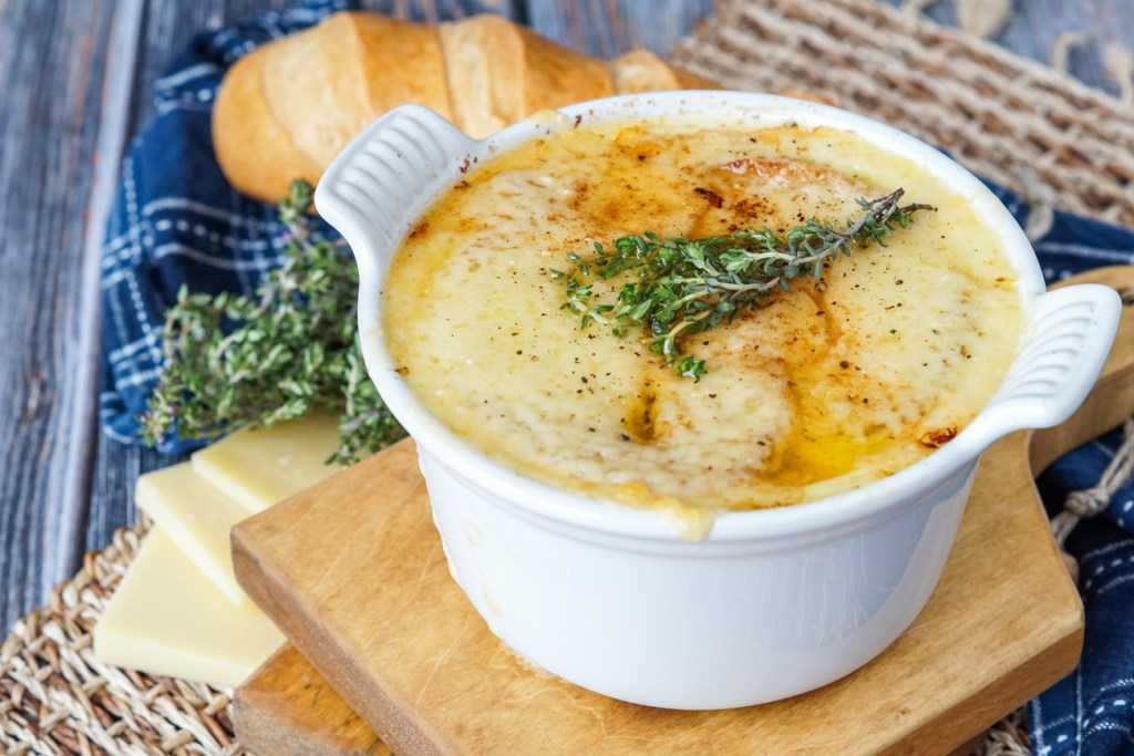 Vegetarian French Onion Soup in a bowl