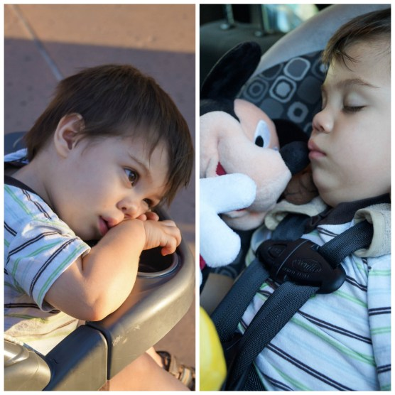 Boy falling asleep at Downtown Disney and in carseat.