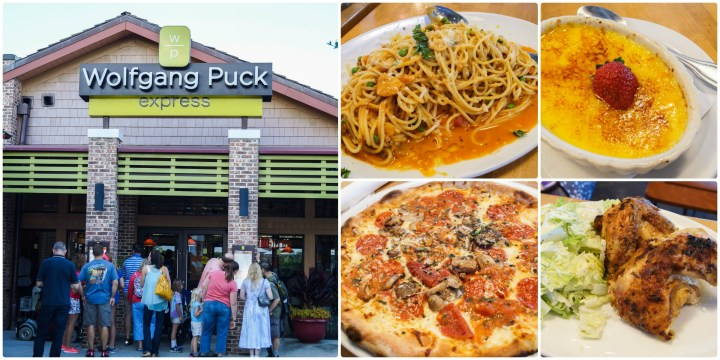Collage of entrance to Wolfgang Puck Express with photos of pasta, pizza, chicken, and Vanilla Bean Crème Brûlée.