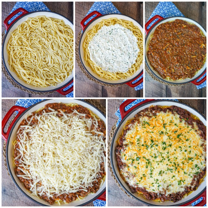 Layering Spaghetti Pie with noodles, ricotta, meat sauce, cheese, and baked until melted.