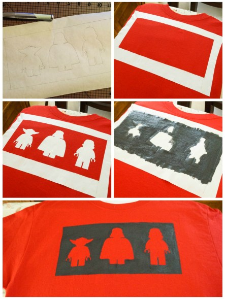 Red shirt with Star Wars Lego outline of Yoda, Darth Vader, and Storm Trooper.