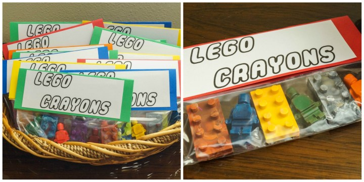 Lego Crayons in gift bags.