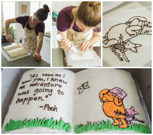 Four photo collage of woman decorating a book-shaped Winnie the Pooh cake.