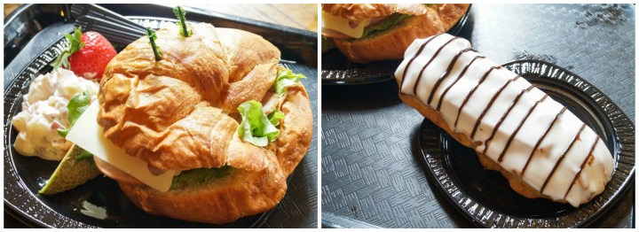 Croissant sandwich and vanilla eclair at Croissant Moon Bakery.