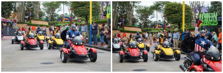 Captain America, Wolverine, and more superheroes driving through Marvel Super Hero Island.