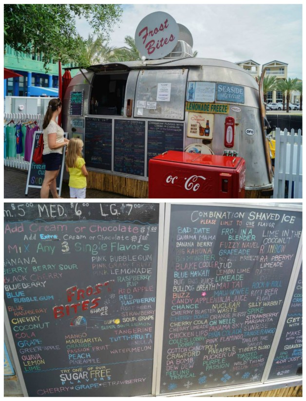 Frost Bites Airstream in Seaside, Florida with photo of large shaved ice menu.