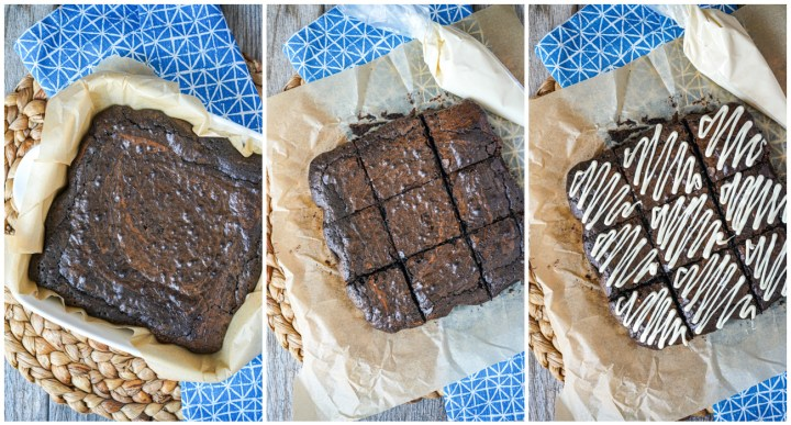 Three photo collage of aerial view of Dark Chocolate Brownies cut into squares and with white chocolate drizzle.