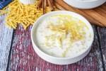 Makaroni-Piimasupp (Estonian Pasta Soup with Milk) in a white bowl.