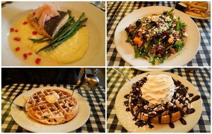 Salmon, salad, and waffles at Cock and Bowl.