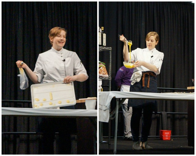 Caitlin Dysart performing a cooking demonstration and beating egg yolks.