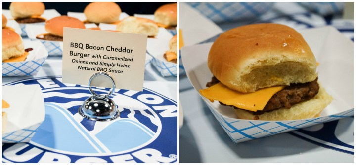BBQ Bacon Cheddar Burger in a blue/white paper tray from Elevation Burger.