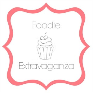 Foodie Extravaganza logo- Pink border with Foodie Extravaganza and an outline of a cupcake in the center with a cherry on top.