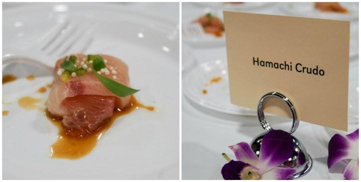 Hamachi Crudo on a white plate from Sushiko.