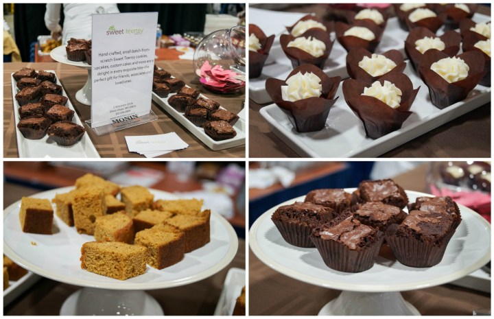 Cupcakes and brownies on display from Sweet Teensy Bakery.