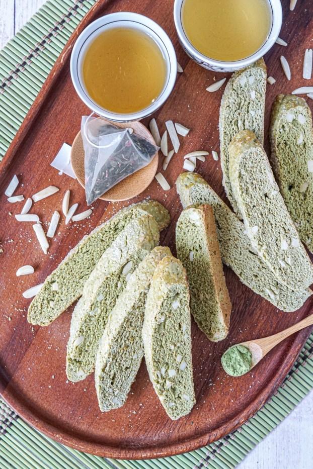 Green Tea Almond Biscotti alongside green tea