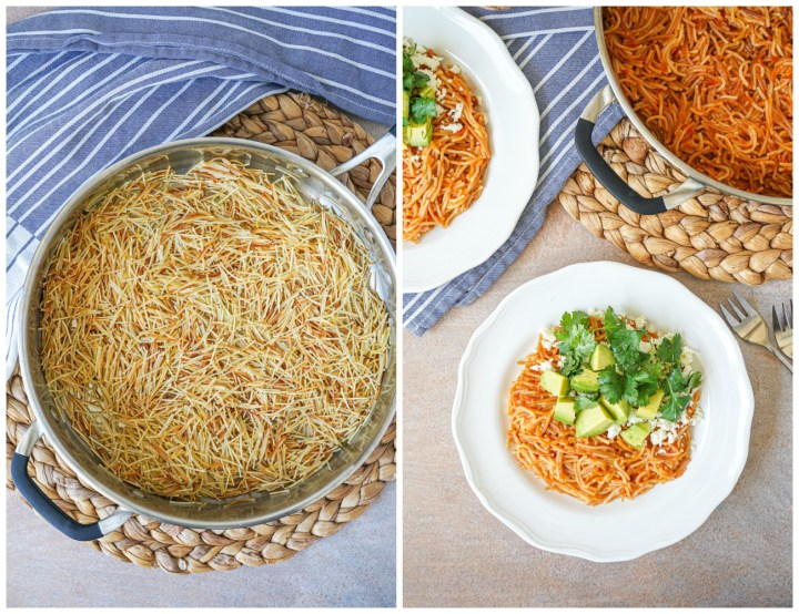 Toasted fideos in a pan and Sopa Seca (Mexican Dry Noodle Soup) on two white plates.