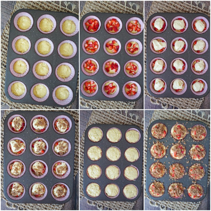 Layering Strawberry Cheesecake Muffins with batter, strawberries, cheesecake, and streusel.