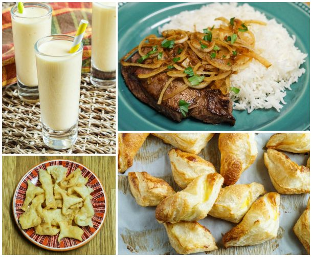 Other dishes from The Cuban Table- Batido de Mango (Mango Shake), Bistec de Palomilla (Pan-Fried Steak), Chiviricos (Fried Leftover Dough), and Pastelitos de Queso (Cheese Filled Pastries).