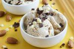 Almond Butter Frozen Yogurt in two white bowls.