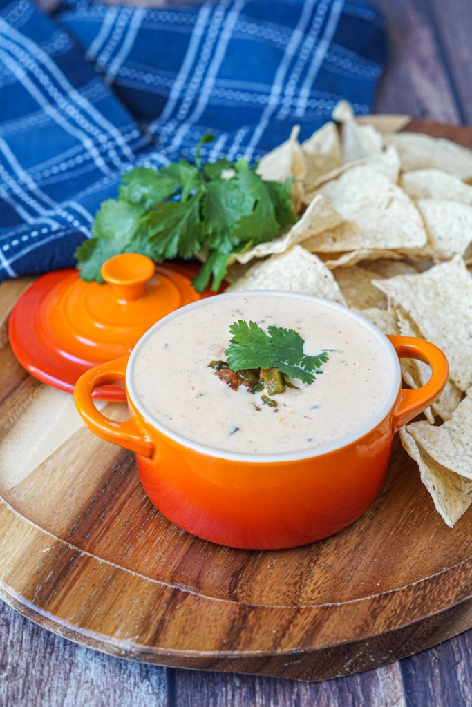 Three Cheese Queso Dip topped with cilantro