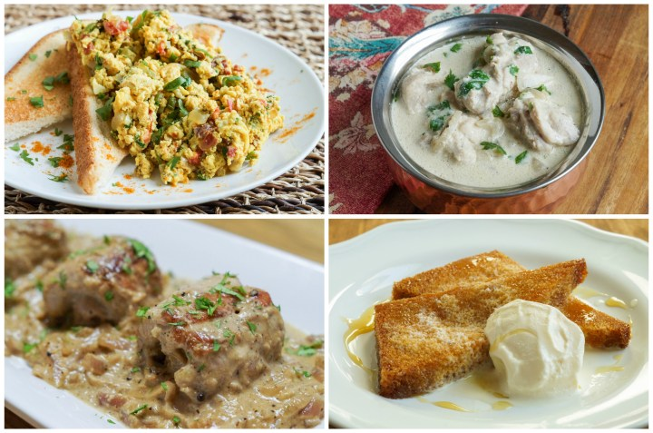 From India Other Dishes: Akoori (Curried Scrambled Eggs), Kesar Badami Khurma (Saffron Chicken Curry), Veal Pasanda (Rolled Veal in Almond and Saffron Sauce), and Shahi Tukda (Mughal Bread and Butter Pudding).