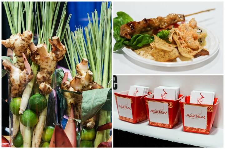 Chicken satay on a white plate and business cards in red containers at Asia Nine.