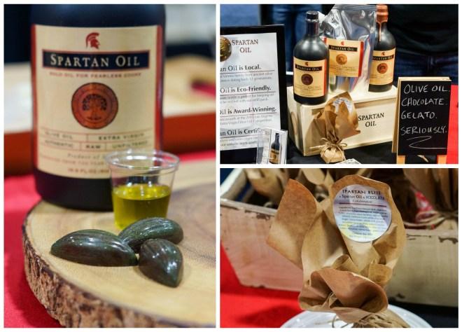 Olive oil in black jars at Spartan Oil.