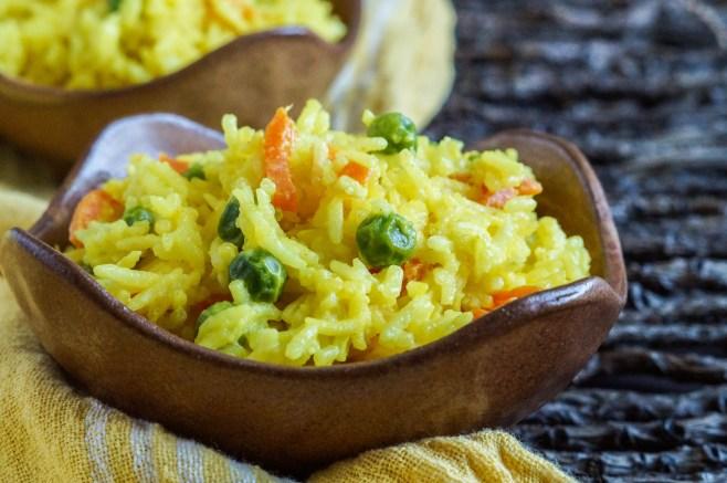 Wali Wa Junde Na Karoit (Tanzanian Coconut Rice with Peas and Carrots) (1 of 3)