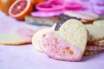 Blood Orange Shortbread Cookies cut into hearts.