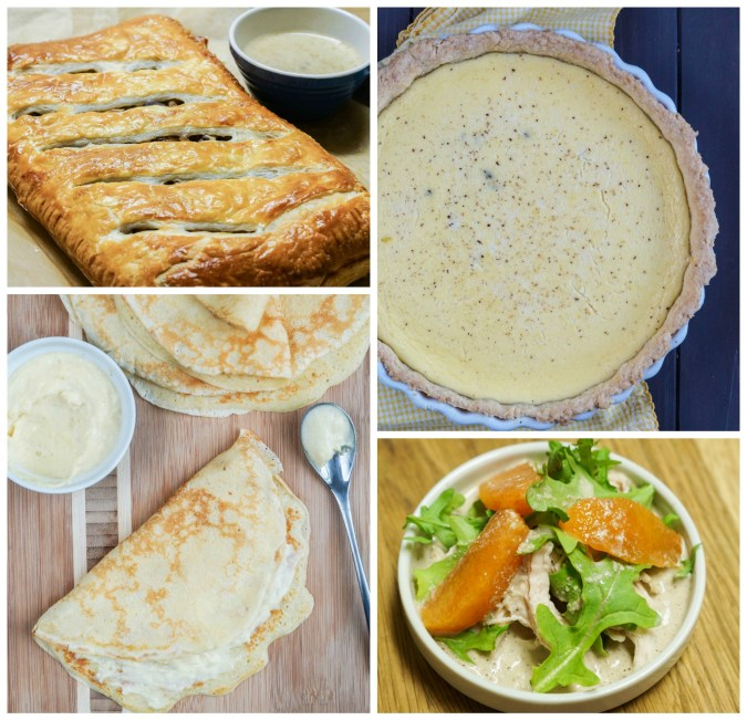 The Best of Irish Country Cooking Other Dishes: Mushrooms in Pastry; Irish Custard Tart; Pancakes with Cinnamon Custard; and Chicken, Orange, and Arugula Salad with Walnut Sauce.