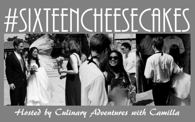 #SixteenCheesecakes logo with wedding photos- hosted by Culinary Adventures with Camilla