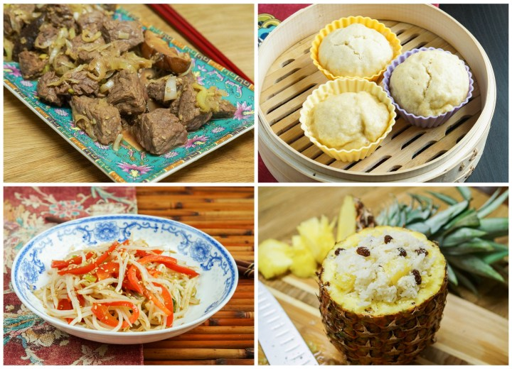 Other dishes from Culinaria China: Beef with Leeks, Sweet Steamed Corn Bread, Soybean Sprout Salad, and Pineapple Rice.