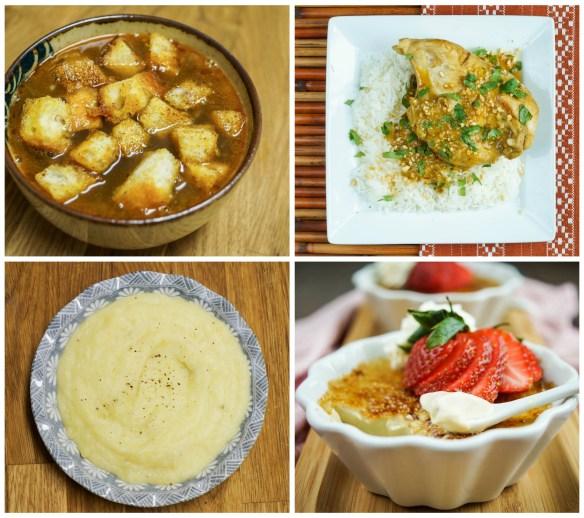 Other dishes from The Filipino-American Kitchen: Sopa de Pan a la Diabla (Bread and Chorizo Soup), Pipián (Chicken in Peanut Sauce), Coconut-Garlic Mashed Potatoes, and Earl Gray Natillas (Tea Custard).