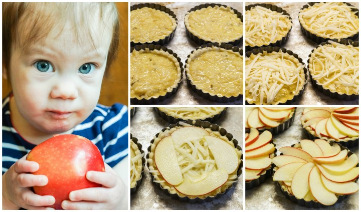 Collage of holding an apple and assembling the Apple and Caramelized Onion Tart with onion layer, shredded cheese, and apple slices.