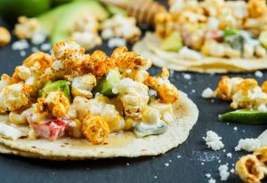 Popcorn Tacos with Elote Corn Salad and Corn Tortilla.