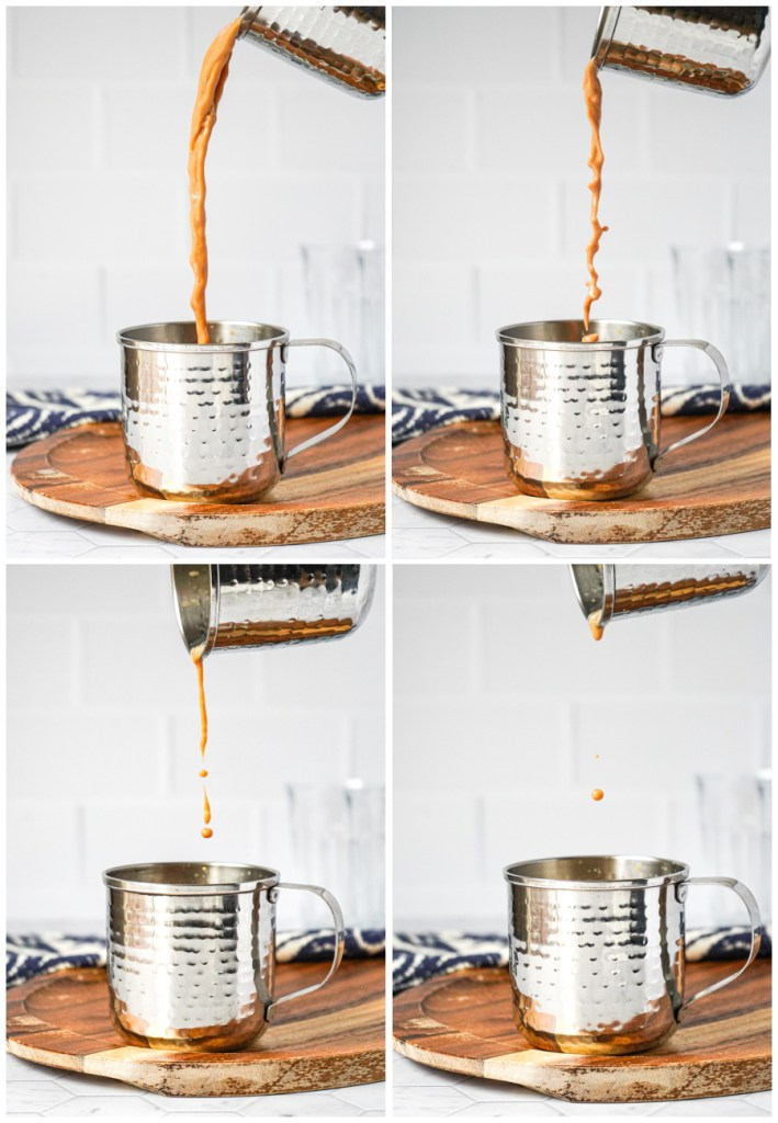 Four photo collage of Teh Tarik (Malaysian Pulled Tea) being poured into a metal cup.