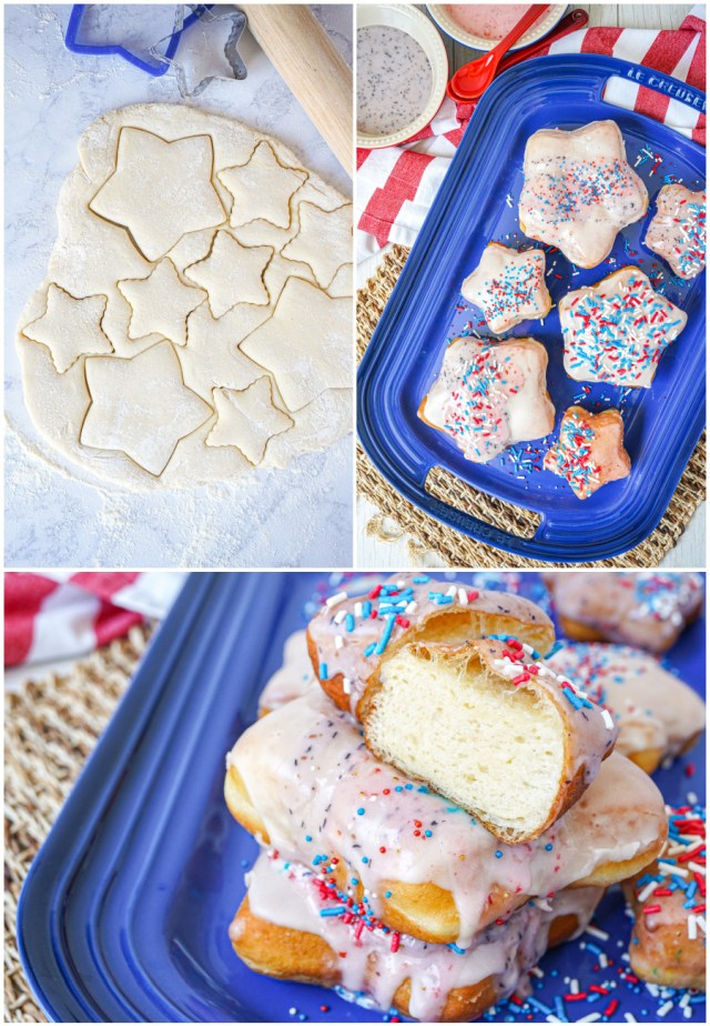 Three photo collage of dough cut into stars, doughnuts on a blue platter, and one doughnut cut in half to show center.