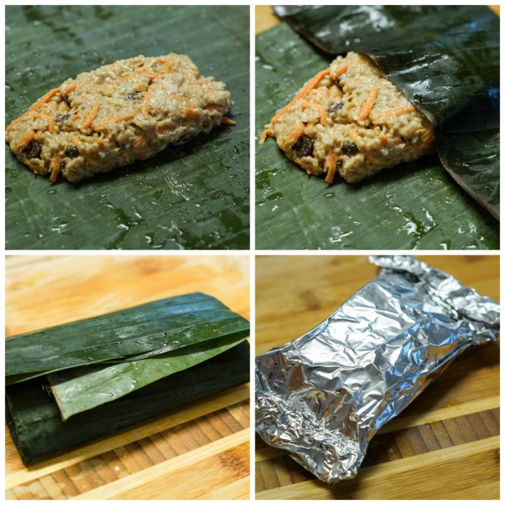 Forming the Ducana (Antiguan Boiled Sweet Potato)- wrapping in banana leaves or foil.