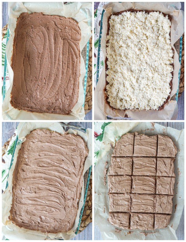 Layering the Queen Anne Squares- chocolate base, covered in coconut, covered in chocolate frosting, then cut into squares