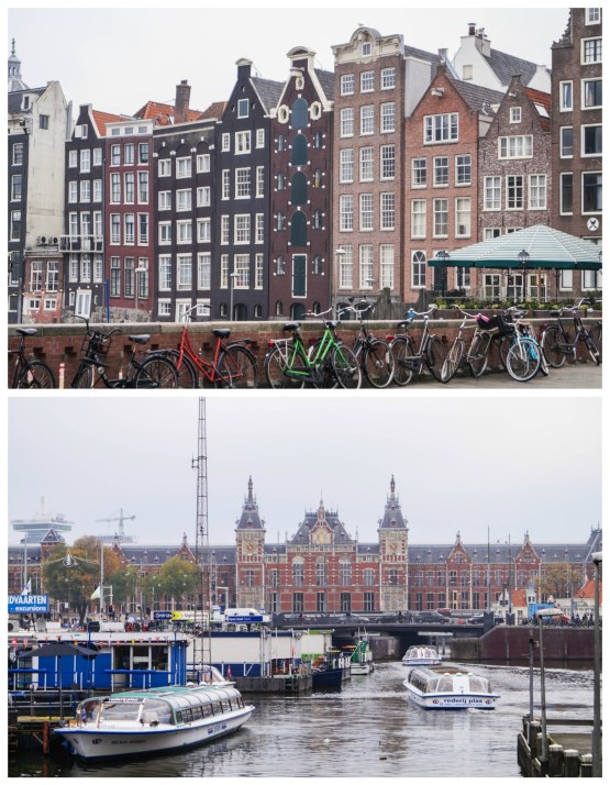 Brown canal houses and central station in Amsterdam