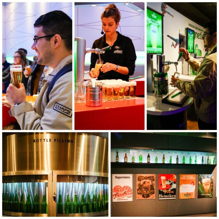 Beer tasting inside The Heineken Experience with glasses of beer lined up.