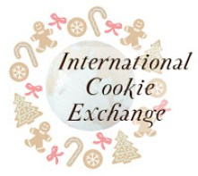Cookie Exchange Logo- International Cookie Exchange with a photo of Earth surrounded by candy canes, snowflakes, gingerbread men, and Christmas trees.